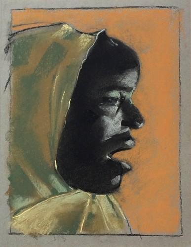 People, Pastel, paper; sketch, charcoal