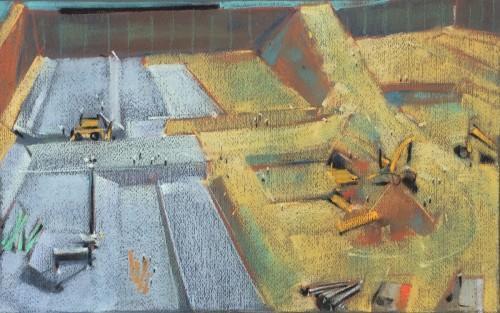 Pastel, Paper, Drawing, Landscape, Bill Prochnow, industrial, San Francisco, construction site, Moscone Center,  Plein air, heavy equipment