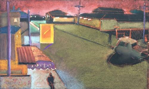 Pastel, Paper, Drawing, Landscape, Bill Prochnow, city streets,  Plein aircosta Rica, neon signs, rooftops, harsh light, dusk, sunset