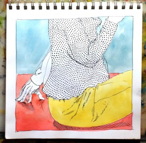 Pen & Ink, watercolor, paper, Sketch, Ink, Bill Prochnow, color, clothes, torso, primary colors, polka dots, hand