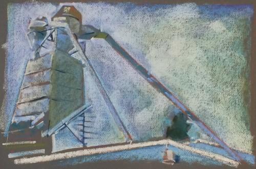 Pastel, Paper, Drawing, Landscape, Bill Prochnow, industrial, Berkeley,  Plein air, Blue, sky, rooftop
