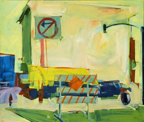 Acrylic, Board , Private collection, Oakland, construction site, building, Painting, city street, city, Bill Prochnow