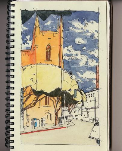 Pen & Ink, watercolor, sketch, street scene, city streets, church, North Beach, San Francisco, Bill Prochnow