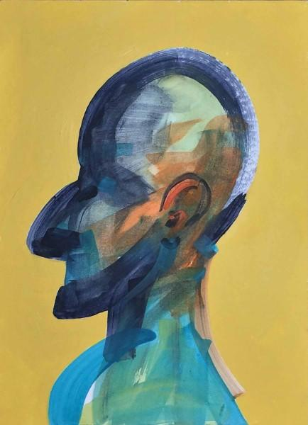 abstract, Painting, family, portrait, head, people, acrylic, Bill Prochnow, Bright colors, small, yellow, relations, relatives