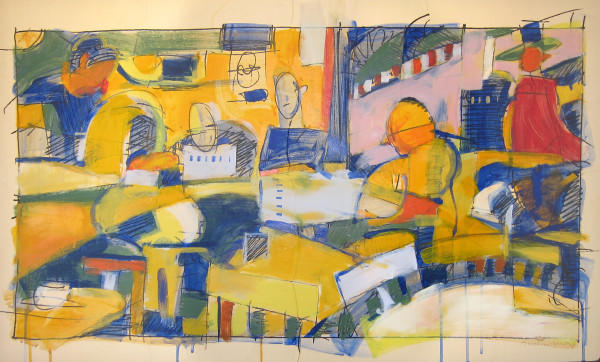 Acrylic Digital output, graphite, Paper, people, street scene, Bill Prochnow, cafe, Cafe Puccini, early morning