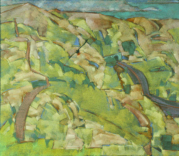 Pastel, Paper, Drawing, Landscape, Bird, Bill Prochnow, Red-tailed Hawk, Marin County, National Park, highway, trails