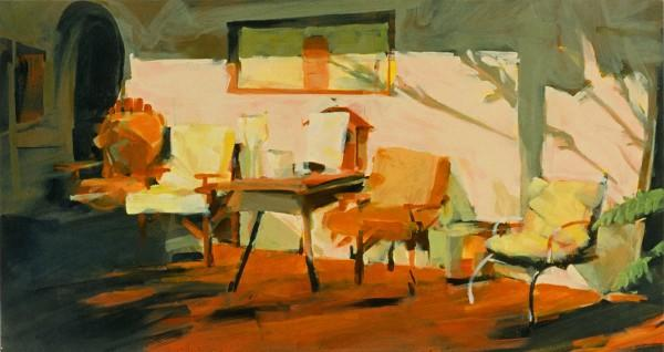 Acrylic, Paper, Landscape, Painting, Bill Prochnow, California Mission, chairs, evening light, history