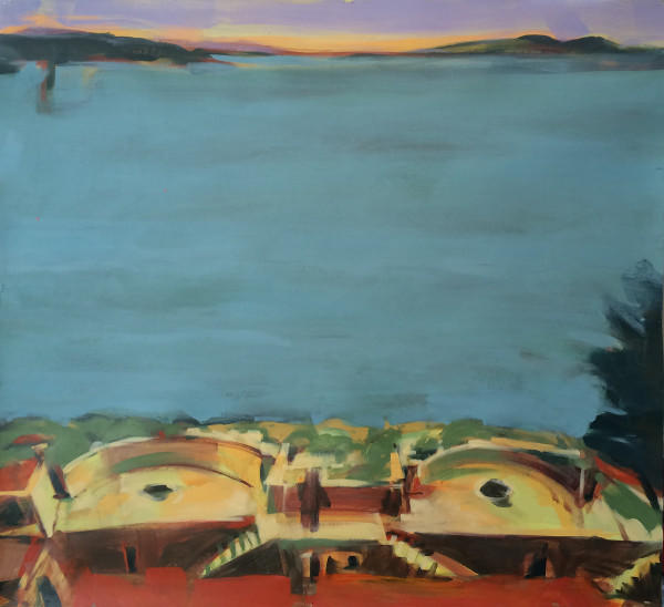 Acrylic, Paper, Landscape, Bill Prochnow, Painting, water, ocean, bunker, national park, history, Marin County, San Francisco