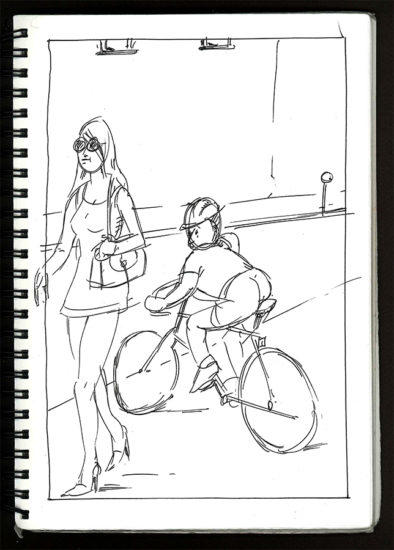 Pen, Ink, Street scene, sketch, Pen & ink, woman, woman walking, morning, early, paper, Bill Prochnow, black and white, City streets, Man, bicycle, joke, male female, city, San Francisco