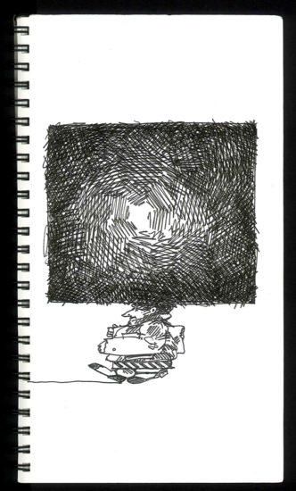 pen, ink, paper, sketch, Bill  Prochnow, thoughts, square, black and white, square, contemplation
