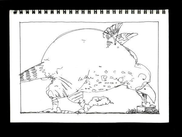 Pen, ink, paper, sketch, wit, Pen & ink, Bird, cartoon,  paper, Bill Prochnow, black and white, joke, kleenex, tissue