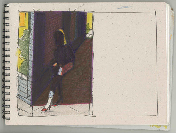 Pen, Ink, Street scene, sketch, markers, Sketch, Pen & ink, woman, woman walking, shadows, morning, early, paper, Bill Prochnow, black and white, City streets, city, San Francisco,