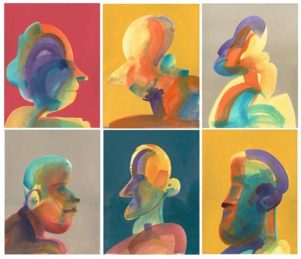 Cousins, abstract, Painting, family, portrait, heads, people, acrylic, Bill Prochnow, Bright colors, small, grouping, collection, repositionable, relations relatives, moveable, six