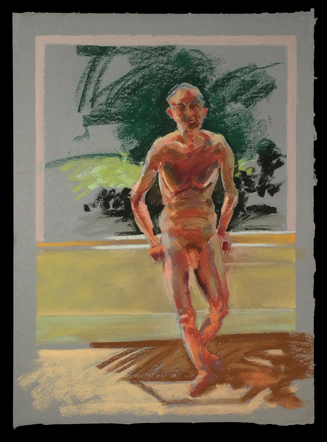 Pastel Paper, Drawing, Nude, Model, Male, Life Drawing