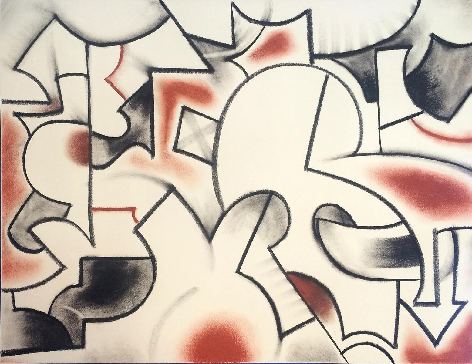 Charcoal, Pastel, paper, drawing, absraction, abstract