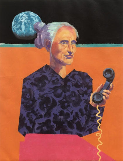 Acrylic, Canvas, People, wit, canvas, painting, Bill Prochnow, Earth, phone, woman, reminisce