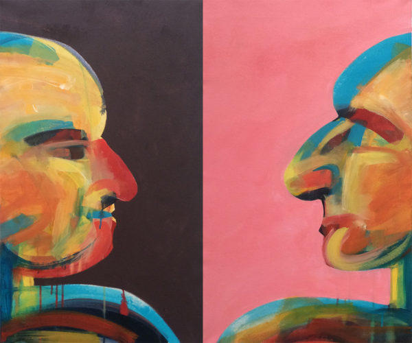 Art, people, Diptych, Bill Prochnow, bright colors, portraits, relations, relatives