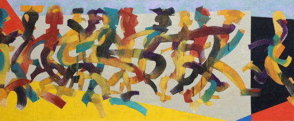 People, Painting, Relations, Bill Prochnow, movement, bright colors, canvas, acrylic, running, group,