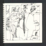 sketch, people,umbrella, Café Puccini, North Beach