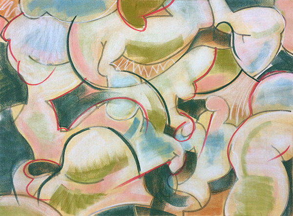 pastel, drawing, erotica, abstract, color