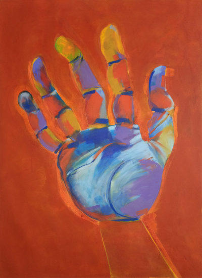 Art, hand, palm, fingers, blue, painting, artwork