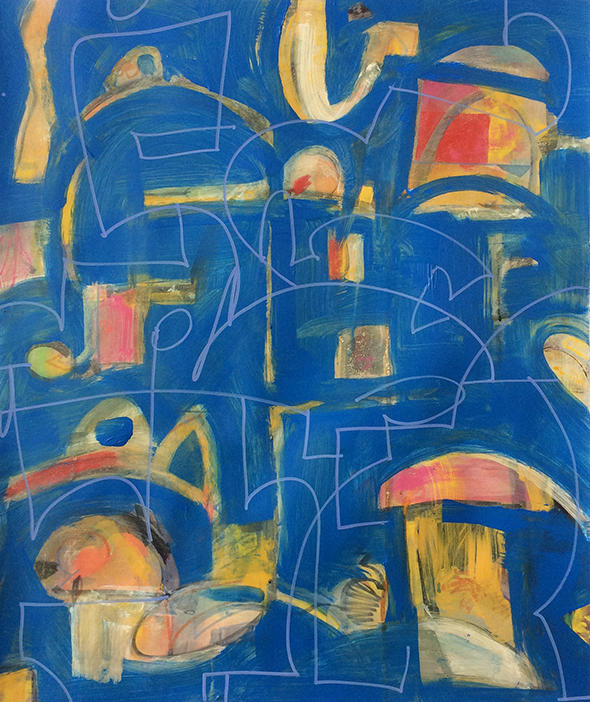 color; non-objective; abstract; blue, painting, art, line