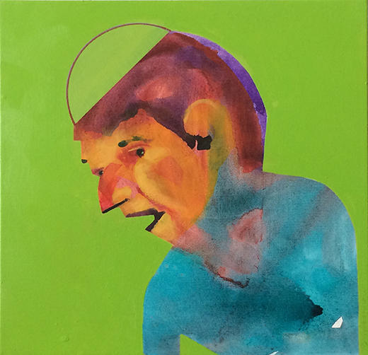 Figurative, art, abstract, figurative abstract, people, color, green, profile