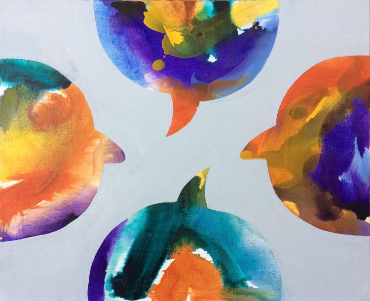 Cartoon balloons, people, abstract, profile, figurative art, painting, art