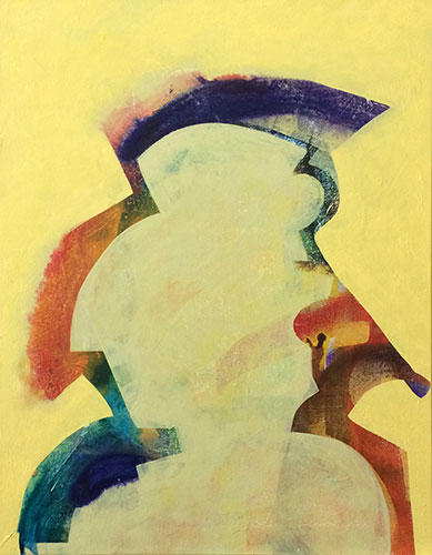 Profile; abstract; figurative; painting; yellow