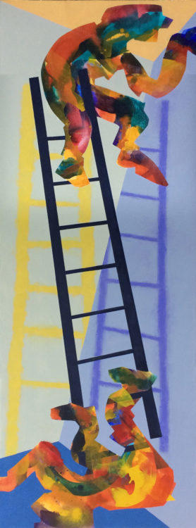 Abstract, painting. figurative art, vertical, ladder, separation