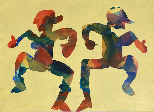 Two colorful, mirrored figures dancing on a yellow background